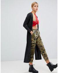 Boohoo - Longline Side Split Cardigan In Black - Lyst