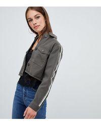 Boohoo - Cropped Side Stripe Jacket In Green - Lyst