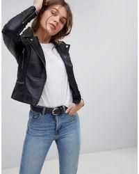Barneys Originals - Leather Biker Jacket With Shoulder Quilting Detail - Lyst