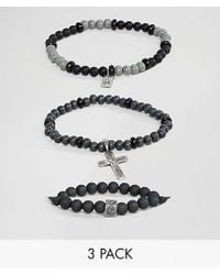 Icon Brand - Black Beaded Bracelets With Cross Charm In 3 Pack - Lyst