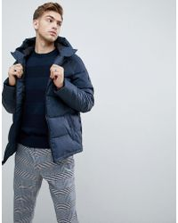 Original Penguin - Quilted Hooded Puffer Jacket Sleeve Badge Logo In Navy - Lyst