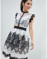 Bronx and Banco - Monochrome Lace Mini Dress - Lyst