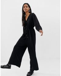 Weekday - Jumpsuit With Drawstring Waist In Black - Lyst