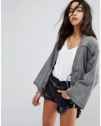 One Teaspoon - Kimono Tie Front Denim Jacket - Lyst