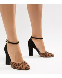 88f126e593 New Look - Round Toe Leopard Print Heeled Shoe - Lyst