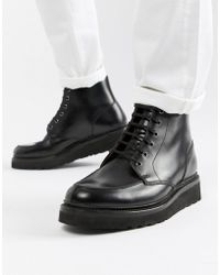 Grenson - Buster Lace Up Boots In Black Leather - Lyst