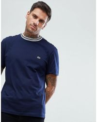 Lacoste - Tipped Ringer T-shirt In Navy - Lyst