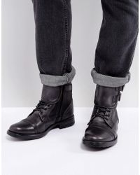 Steve Madden - Galvaniz Leather Boots In Black - Lyst