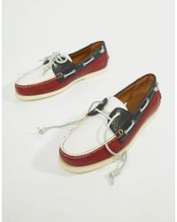 Polo Ralph Lauren - Merton Leather Boat Shoes In Red/white/navy - Lyst