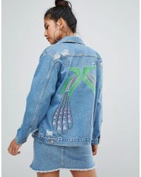 Chorus - Peacock Embroidered Oversized Denim Jacket - Lyst