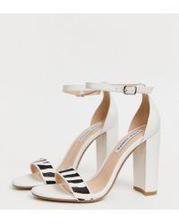 65ea3edec14d Steve Madden - Carrson White Leather Heeled Sandals With Zebra Detail - Lyst