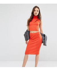Noisy May Petite - Knitted Ribbed Bodycon Skirt - Lyst