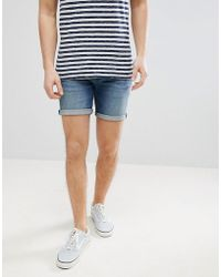 ASOS DESIGN - Denim Shorts In Skinny Mid Wash With Abrasions - Lyst