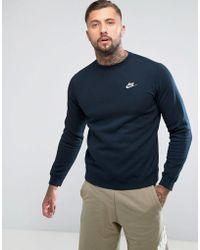 Nike - Club Swoosh Crew Sweatshirt In Navy 804340-451 - Lyst