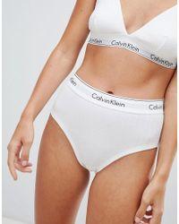 48346ebef46f Calvin Klein Modern Cotton Lace High Waist Bikini Brief in Black - Lyst
