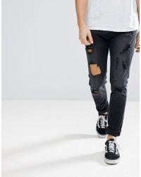 DIESEL - Tepphar Jeans In Black Ripped - Lyst