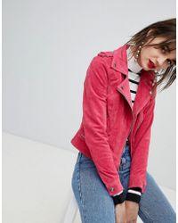 Vero Moda - Suede Biker Jacket - Lyst