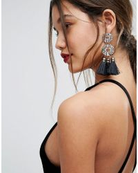 ALDO | Crystal And Tassel Drop Statement Earrings | Lyst