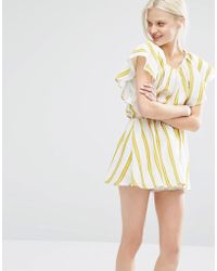 I Love Friday - Dress With Ruffle Sleeves In Summer Stripe - Lyst