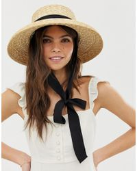ASOS - Turned Edge Natural Straw Hat With Changeable Ties - Lyst