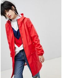 Pieces - Longline Rain Jacket - Lyst