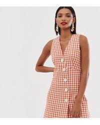 ventas al por mayor última selección de 2019 100% autentico Vestido de vichy con cuello en V y botones delanteros - Naranja