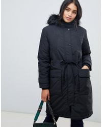 Oasis - Parka Coat With Faux Fur Trim In Black - Lyst