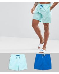 ASOS - Swim Shorts In Turquoise & Dark Blue Mid Length 2 Pack Save - Lyst