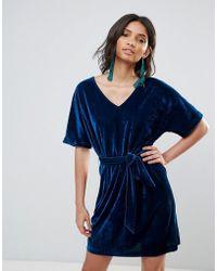 Soaked In Luxury - Velvet Flutter Sleeve Dress - Lyst