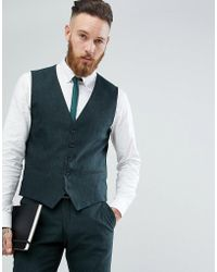 SELECTED - Skinny Waistcoat In Forest Green - Lyst
