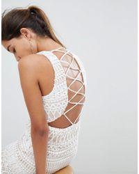 Love Triangle - Stripe Detail Lace Mini Dress - Lyst