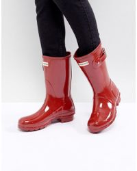 HUNTER - Original Short Gloss Military Red Ankle Boots - Lyst