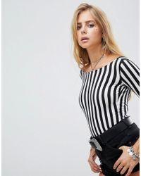 Motel - Scoop Back Long Sleeve Body In Monochrome Stripe - Lyst