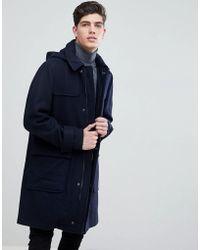 Mango | Man Hooded Wool Blend Coat In Navy | Lyst