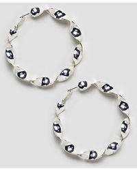 Monki - Twisted Oversized Hoops In Silver - Lyst