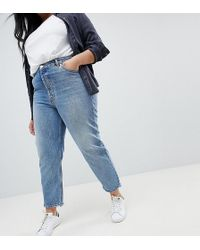 ASOS - Asos Design Curve Florence Authentic Straight Leg Jeans In Light Stone Wash - Lyst
