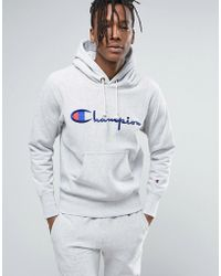 Champion - Reverse Weave Hoodie With Large Logo - Lyst