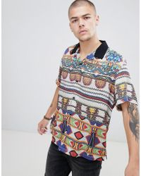 ASOS - Relaxed Aztec Print Shirt With Revere Collar - Lyst