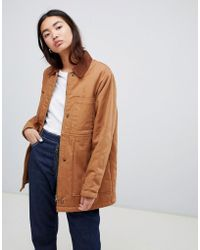 ASOS - Oversized Denim Wadded Jacket With Cord Collar In Camel - Lyst