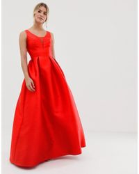 ca24f29550b Chi Chi London - Maxi Prom Dress With Open Back In Red - Lyst