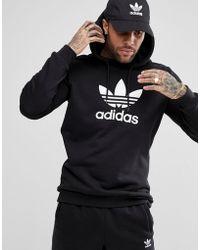 adidas Originals - Adicolor Pullover Hoodie With Trefoil Logo In Black Cw1240 - Lyst