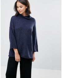 Soaked In Luxury - High Neck Jumper With 3/4 Sleeves - Lyst
