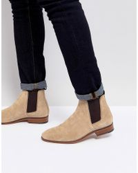 ASOS - Chelsea Boots In Stone Suede With Emboss And Natural Sole - Lyst