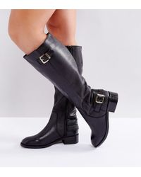 ASOS | Clued Up Wide Fit Leather Knee Boots | Lyst