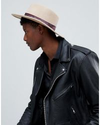 ASOS DESIGN - Wide Brim Pork Pie Hat In Camel With Paisley Band - Lyst