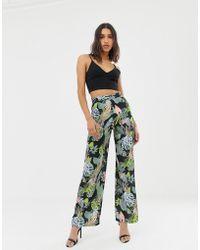 Love Tropical Floral Print Wide Leg Trouser - Black