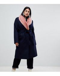 ASOS - Asos Design Curve Faux Fur Collar Coat With Tie Belt - Lyst