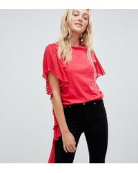 ASOS - T-shirt With Dramatic Assymetric Woven Ruffle - Lyst