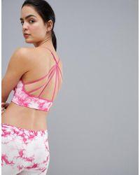 South Beach - Tie Dye Strappy Bra Top In Pink - Lyst