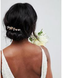 LoveRocks London - Gold Floral Hair Clip - Lyst